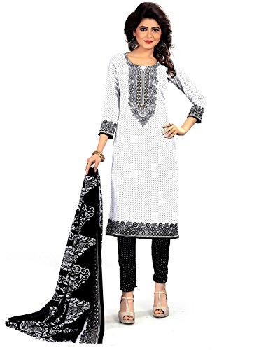 Jevi Prints Women's Unstitched Synthetic Crepe White & Black Block Printed Salwar...