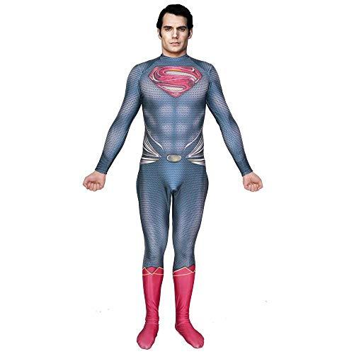 Kostüm Einfache Männliche Halloween - KLEIDEE Cosplay Kleidung DC Superman Mann Aus Stahl Cosplay Kostüm Lycra Siamese Strumpfhosen 3D Digitaldruck Enge Weihnachten Halloween Kostüm Für Erwachsene Tragen XXXL