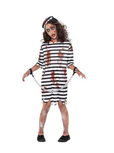 Halloweenia - Mädchen Kinder Horror Zombie Sträfling Häftling Gefängnisinsasse Kostüm, Kleid Kappe und Kette, perfekt für Halloween Karneval und Fasching, 140-152, (Häftling Kleid Kostüm)