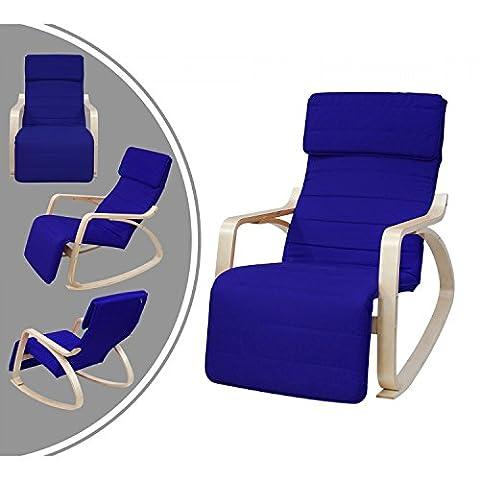 Leogreen - Fauteuil à bascule type rocking chair - bleu