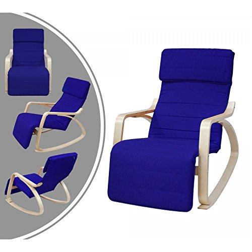 Leogreen Neu Schaukelstuhl Relaxstuhl Birkenholz 5-fach verstellbares Fußteil Relaxsessel Ruhesessel Leinenimitat Belastbarkeit 150 kg Blau