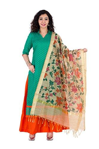 Aaditri Clothing Women's Silk Unstitched Dress Material (Green),Top Chanderi Bottom Cotton Dupatta...