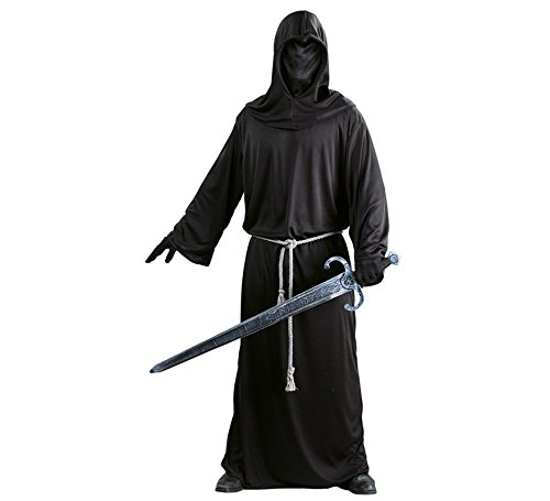Guirca - Kostüm eines Soldaten, dunklen Mönches, mittelalterlichen Mannes, Farbe Schwarz, Einheitsgröße, 24748-1 -