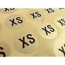 Hombre Ropa ROPA PRENDAS pegatinas de tamaño, Etiquetas Adheribles XXS a xxxl , Negro en plata, ETIQUETAS PARA PERCHAS, cajas y Paquete - XS