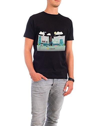 """Design T-Shirt Männer Continental Cotton """"Lisbon Skyline"""" - stylisches Shirt Städte / Weitere Reise / Länder von GREENGREENDREAMS Schwarz"""