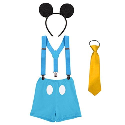 ie Requisiten Outfit Neugeborenen Bloomer Shorts + Krawatte + Hosenträger + Stirnband 4pcs Kleidung Set für 1. / 2. Geburtstag Kostüm für Säugling Jungen Mädchen 3-24 Monate (Am Besten Neugeborenen-halloween-kostüme)