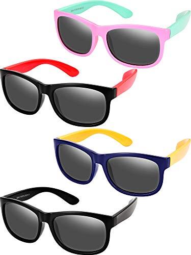 Yaomiao 4 Stück Kleinkind Sonnenbrille Polarisierte Sonnenbrille Gummi Flexible Kinder Sonnenbrille, Alter 3-10 (Farbe Satz 1)