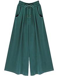 Damen Lose Weites Bein Hose Elastische Taille Hosenrock Capri Hose  Freizeithose Große Größe cceb86ace1