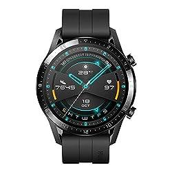 Huawei Watch GT 2 Smartwatch (46 mm Full- Screen AMOLED Touchscreen, GPS, Fitness Tracker, Herzfrequenzmessung, 5 ATM Wasserdicht) Fluorelastomer Armband, Matte Black