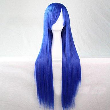 HJL-mode cosplay must-have fille qualit¨¦ bleu cheveux longue ligne droite de 80 cm perruque , blue