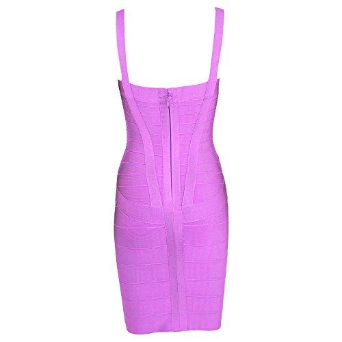 HLBandage Spaghetti Bügel Damen Kunstseide Mini Verband Kleid Lavendel