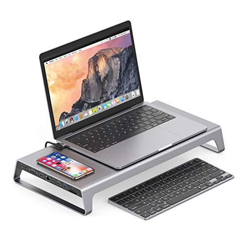 QHJ Laptoptisch, Laptop Ständer USB Typ C 3.0 Multifunktions-11-in1-Docking-Hub + kabelloser Ladeschreibtisch für Laptops Lapdesks Multifunktions Basiserweiterung (Silber)