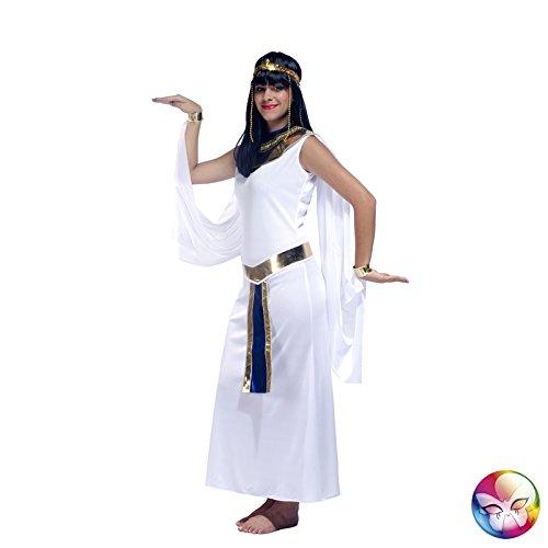 Kostüme De Nile Damen Königin Erwachsene Von (Aptafêtes–cu060654/14–16Kleid mit Ärmel und Kragen/Gürtel–Weiß–Königin der Nile Kostüm–Größe)