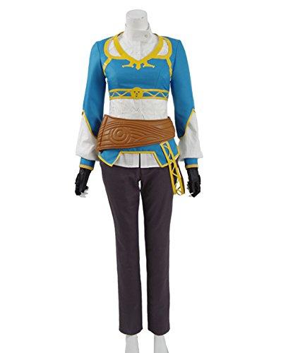 Prinzessin Zelda Kostüm - Yeweiwenhua Prinzessin Kostüm Shirt Hosen und Gürtel Cosplay Outfit Karneval (Blau, XXL)