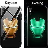 Friendly Store Lumineux Verre Trempé Coque pour iPhone 8 7 6 6s Plus Coque Marvel Super Hero pour iPhone X X XS Max Coque (9, iPhone X)