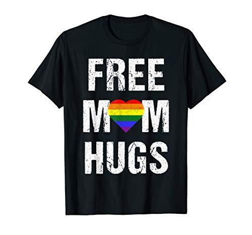 Free Mom Hugs LGBT Rainbow Line Mom Free HugsGift T-Shirt (Outfits Gras Mardi Ideen)