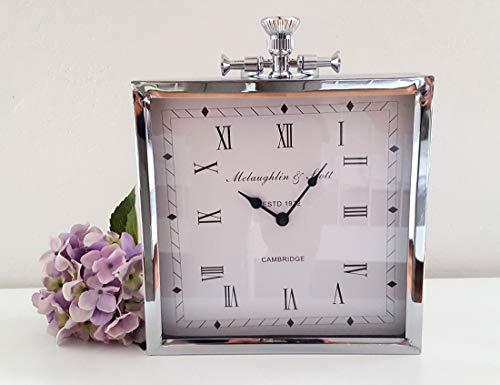 Lilienburg Tischuhr Standuhr Kaminuhr auch als Wanduhr - London antik Silber Glas 34x26 cm Gross - DI