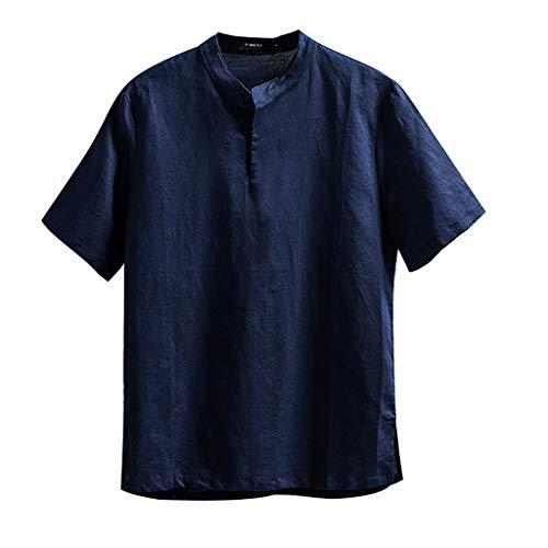 Chejarity Herren Sommer T-Shirt Rundhals-Ausschnitt Slim Fit Baumwolle-Anteil | Moderner Männer T-Shirt Crew Neck Sweatshirt Kurzarm