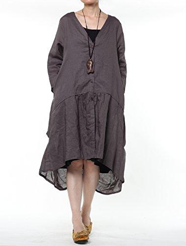 vogstyle Damen Frühling/Sommer Longline Offene Strickjacke Damen Coat Dunkelgrau