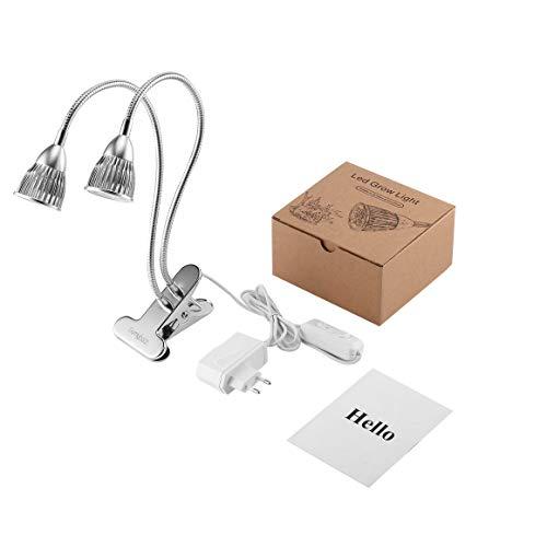 Funnyrunstore GOMYHOM Flexible 10W Dual Head Gooseneck 10 LED-Schreibtisch-Clip Pflanze wachsen Licht,Silber