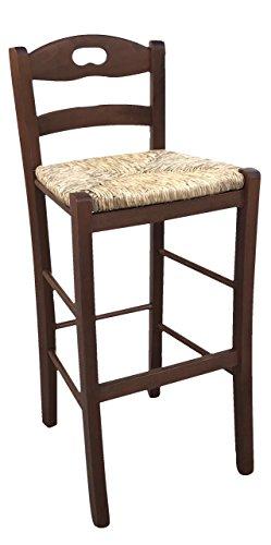 Ok affarefatto maddaloni sedia sgabello in legno massello in tinta noce scuro h 66 cm da terra alla seduta con seduta in paglia per casa pub ristorante fai da te nuovo già montato