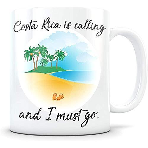 Taza De Cerámica,Costa Rica Souvenir - Regalo Temático De Vacaciones En La Playa Para Mujeres Y Hombres Que Viajan - Amo La Taza De Café De Costa Rica Para Snowbirds, Viajeros O Expatriados 11 Oz