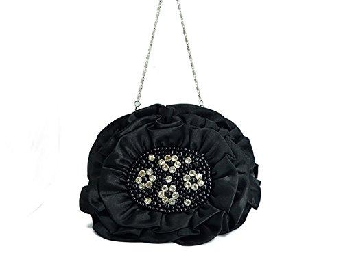 Neue Abendessen Handtasche Blume Seidensatin Tasche Hochzeit Brautbrautjunfer Partei Festlich Handtasche Black