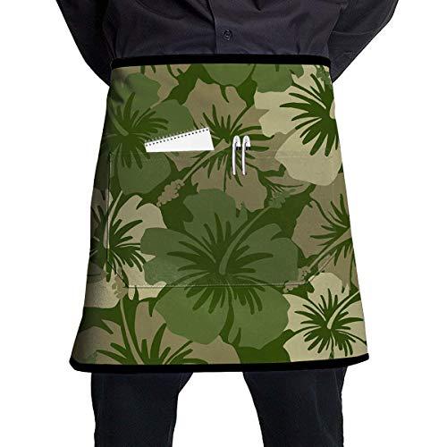 MSGDF Hawaiian Floral Olive Green Waist Apron Server Apron with Pockets Commercial Restaurant Waitress Waiter Waterproof Kitchen Apron for Men Women Half Bistro Aprons -