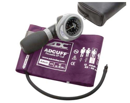 ADC Diagnostix 703 Palm Style Aneroid-Blutdruckmessgerät mit Adcuff-Nylon-Blutdruckmanschette, Erwachsene, Lila - Erwachsene Blutdruckmanschette