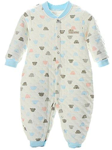Neugeborene Kleidung, Chickwin Unisex 100 % Reine Baumwolle Warme Herbst und Winter Säuglinge Mädchen Jungen Jumpsuit Baby Schlafanzug (80 cm (12-18 Monate), Blau) (Babys Warm-up-hose)