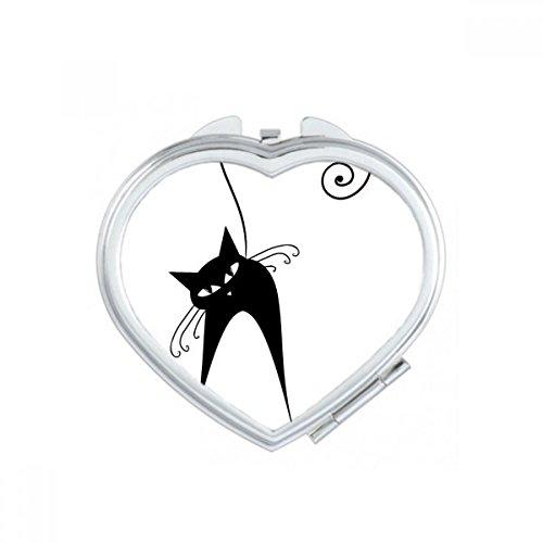DIYthinker Halloween Schwarze Katzen-Liebhaber-Tierkunst-Silhouette Herz Compact Make-up Taschenspiegel Tragbare Nette Kleine Hand Spiegel Geschenk Mehrfarbig