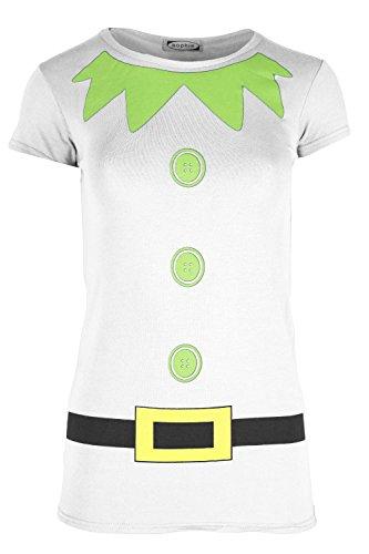 Elfe Die Kostüm (Damen Weihnachten T-shirt Damen Elfe Kostüm Weihnachten Flügelärmel Jerseykleid Top - Weiß,)