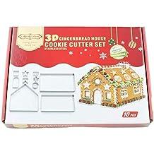 Bibettter - Juego de 10 cortadores de galletas en forma de jengibre de Navidad en 3D