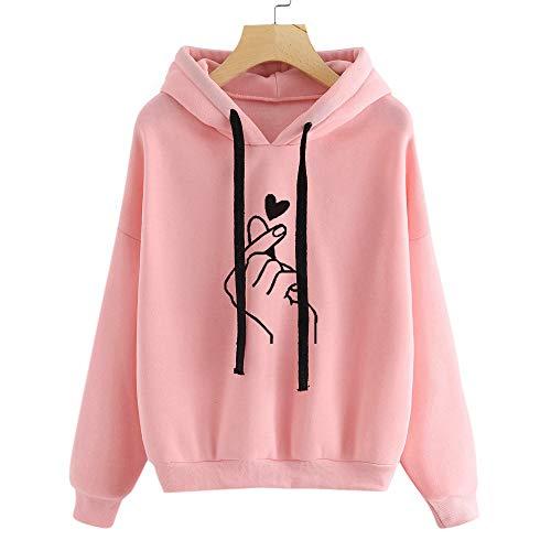 (Amoyl Hoodie Damen Langarm Rundhals Herz Druck Teenager Mädchen Kapuzenpullover Pullover Running Sportbekleidung Damenbekleidung (Rosa, S))