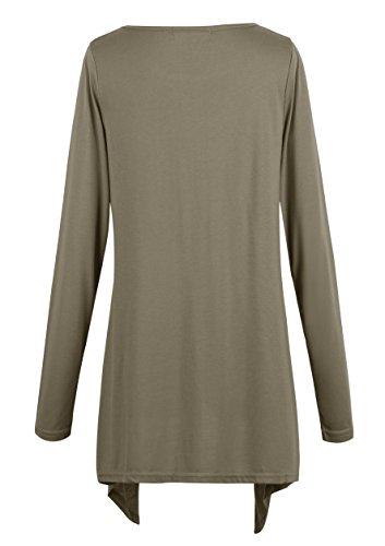 Damen T-Shirt Tunika Langarmkleid Stretch Basic Shirt Top Caribou