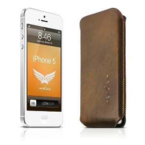 MILAN Ultraslim - Ledertasche Case Hülle - Club No. 03 - für das Apple iPhone SE & 5 & 5S aus echtem Leder - dunkelbraun - Made in Germany