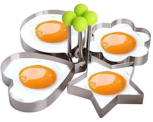 GKA 2er Set Eierform für Spiegeleier Pancake Pfannkuchen Spiegeleierform Edelstahl Herz rund -