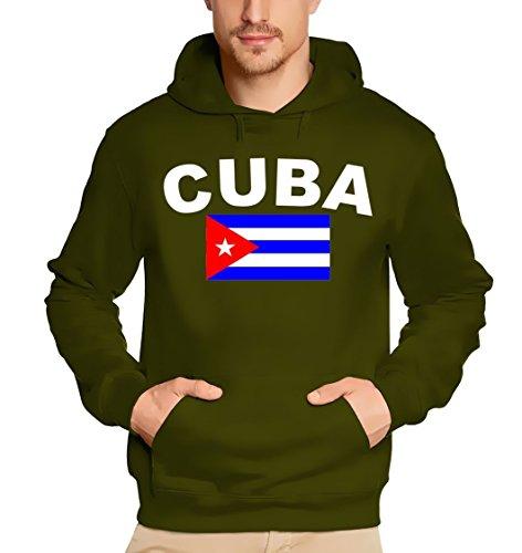 Coole-Fun-T-Shirts Herren CUBA FLAGGE Sweatshirt m. Kapuze oliv CUBA KUBA LIBRE, XS Preisvergleich