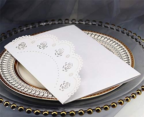 Dodom Elegant Bridal Invitations Laser Rose Pocket fold Gift Card Personalized Printing 50pcs,White,Customized Printing (Pocket White Einladungen)