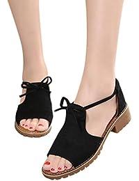 Sandalias con Cordones de Vestir para Mujer, QinMM Zapatos de Baño Chanclas Verano de Playa Fiesta Casual Roma