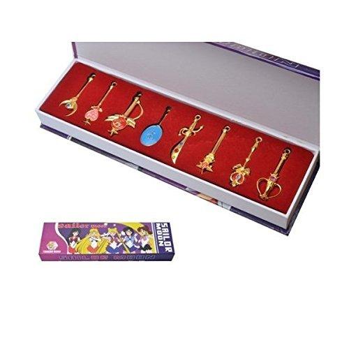 Schlüsselanhänger Heb 8 Produkte Magic Wand Props Goldene Halsketten Anhänger Cosplay Kostüm (Kostüme Halloween Sailor Moon Figuren)