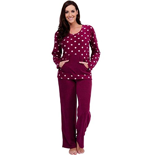 - 41h2NbercaL - Womens Warm Fleece Winter PJ Pyjama Set Night Wear PJ's Pyjamas Sets Ladies New
