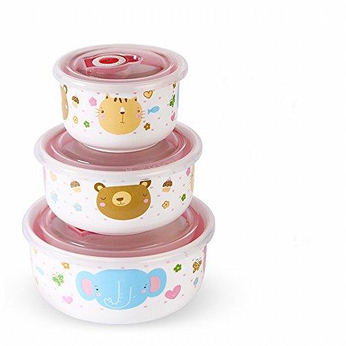 lt Frische Keramikschale mit Deckel Mikrowelle Lunchbox Schlafsaal Schüssel Niedlich Siegel Nudeln Geschirr Set Studenten,Ein ()