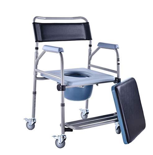 LFNIU Duschbad Toilettenstuhl mit Rädern Toilettenstuhl und gepolsterter Toilettensitz Duschtransportstuhl Duschrollstuhl C - Nicht Gepolstert Bürostühle
