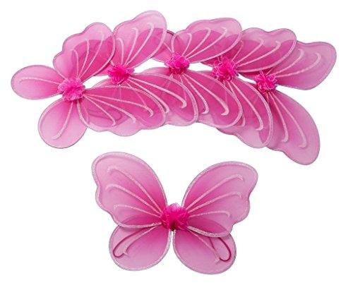 6 Stück Hot Pink Flügel für Fee oder Schmetterling Kostüm Party-Paket Mottoparty für Mädchen: Klein- und Schulkinder (Für Mädchen Feenflügel)