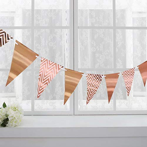 Fantasyworld Sparkly Papier Pennant Banner Dreieck Flags Bunting Geburtstags-Party-Wandschmuck Metallic Gold