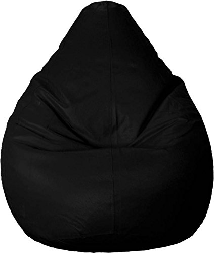 CaddyFull Leatherite Single Seating XXXL Size Bean Bag without Beans , Double Stitched and Zippers for Strength and Safety - (Black)