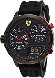 Ferrari Men's Black Dial Silicone Band Watch - 830318, Analog-Digital Display, Japanese Quartz Move