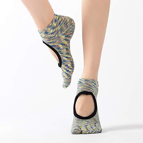 CAMORNY Yoga Socken Damen rutschfeste Fitness Socken Fünf Zehen Socken Ballett Pilates Sport Tanz Schwangere Frauen Socken Hausschuhe Socken Trampolin Baumwolle Sportsocken 4 Paar,f - Greifer Zehen-socken