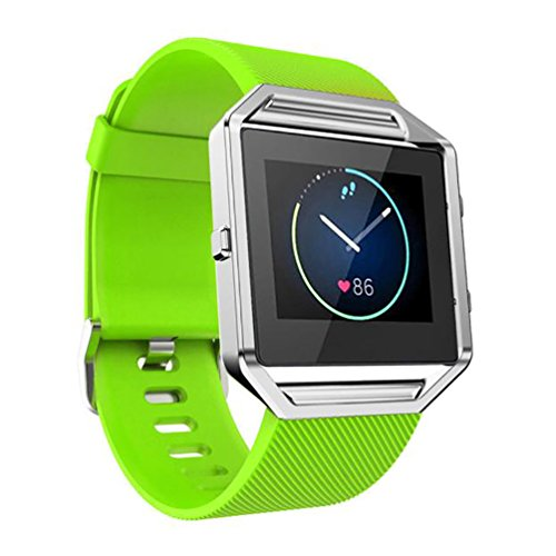 Fitbit Blaze Band, TopTen Fan-Motive Soft Silikon Ersatz Handgelenk Gurt Sport Bands verstellbar Armband für Fitbit Blaze Smart Fitness Watch M grün (Xl Fitbit Band)